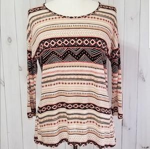 Forever 21 Tribal Print 3/4 Drop Sleeve Rayon Top